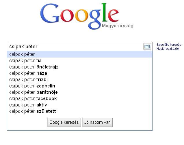 Csipak Péter fia, barátnője és a Google